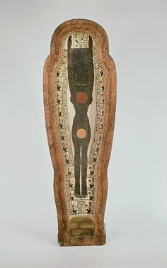 Anthropoid sarcophagus of Peftjauneith, XXVI Dynasty (664 -525 BC). Wood stuccoed and painted. Height: 36cm, width: 63cm, length: 240cm. Collection D'Anastasi, Rijksmuseum van Ouheden, Leiden.