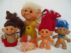 Vintage Troll Dolls Set of 6 - Retro Thomas Dam Trolls in Original Clothes - Mid Century Toys Made in Denmark Instant Troll Doll Collection $67.00 by DivineOrders