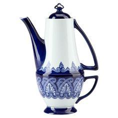 2-Piece Belmont Porcelain Nesting Teapot & Teacup Set