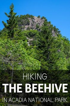 The Beehive trail is one of Acadia National Park's iconic hikes. It's thrilling, strenuous, and not for the faint of heart. You'll hike along exposed cliffs and use iron rungs to reach the summit. This is a must for our trip to Bar Harbor, Maine. Acadia National Park Hiking, National Parks Usa, East Coast Road Trip, Us Road Trip, Acadia Maine, Bangor Maine, New England Travel, Winter Camping, Vacation Spots
