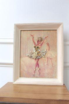 Vintage Jewelry Collage Ballerina Antique Print Pal Fried Ballet Rhinestone Pearl Gold Silver Wall Art Assemblage OOAK Nursery Dance Studio by SusieKays on Etsy