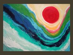 """Original LARGE Abstract Modern Painting """"Moon Tide"""" 24x36 Canvas. $189.00, via Etsy."""