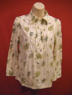 SOUTH CHINA SEA Beige Floral Print Ruffle Blouse Top Long Sleeve Women Size M #SouthChinaSea #Blouse #Casual