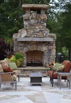 outdoor fireplace, hardscaping