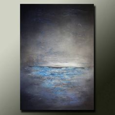 Original ABSTRACT Modern PAINTING Textured Contemporary Blue and Grey Fine Art by Idil Kamlik