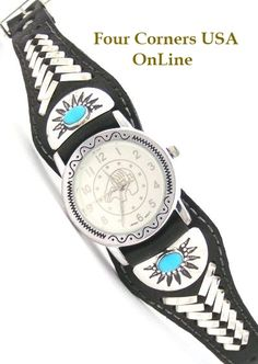 Four Corners USA Online - Men's Sterling Turquoise Leather Watch Native American Indian Silver Jewelry shown with Bear Motif Face, $166.00 (http://stores.fourcornersusaonline.com/mens-sterling-turquoise-leather-watch-native-american-indian-silver-jewelry-shown-with-bear-motif-face/)