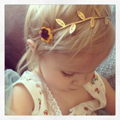 Friendly Forest-Gold leaf fall wool felt flower halo headband LOVE this store