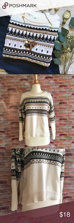 "L.O.G.G. ivory Fair Isle pullover sweater Crewneck Fair Isle cream sweater in shades of brown and black. Ribbed cuffs, hem, and collar. Gently loved. Cotton/arcylic. 20""L in front, 22.5""L in back.21.5"" bust laying flat. Size Medium. *jeans pictured are also available in my closet, buy the look and save! H&M Sweaters Crew & Scoop Necks"