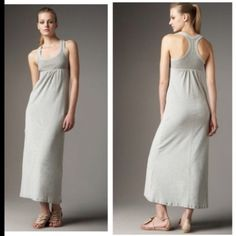 "James Perse racerback maxi in heather grey In excellent condition with no flaws. Worn twice! Pullover style. Heather grey. Racerback tank maxi dress. Wide shoulder straps. Banded scoop neckline. Seamed empire waist. Full length center seam on back. Straight skirt sits at ankle. I'm 5'7"" and the length was perfect on me wearing flip flops. Perfect to wear around house, run errands in, throw over a swimsuit or to wear on a vacay! Super comfy dress! Closet staple for summer! Price firm! James…"