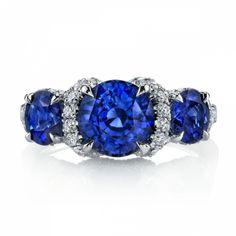 sapphire | Sapphire & Diamond 3-Stone Ring