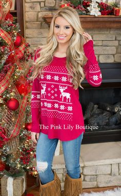 Rocking Around the Christmas Tree Red Tunic - The Pink Lily Boutique