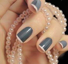 Dark gray nails pale pink tips-------