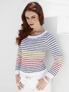 Hvis du er super trendy, strikker du en matchende nederdel til denne flotte sømandsbluse med nyt stribemønster. Alter, Knitting Patterns, Knitting Ideas, Matcha, Turtle Neck, Vest, Pullover, Crochet, Womens Fashion