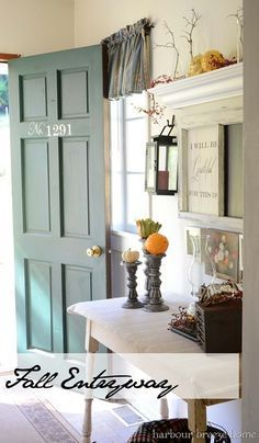 fall entryway door.  Simple decorating ideas.