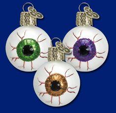 "Evil Eye (a), 1½""  Old World Christmas Halloween glass ornaments"