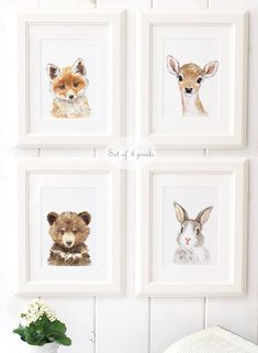 Woodland Nursery Art - Woodland animals print set of 4 - Animal Portrait Set - Animal Art - Home Decor - Giclee - Deer , Bear , Fox, Bunny by ElfinLilac on Etsy https://www.etsy.com/listing/471350886/woodland-nursery-art-woodland-animals