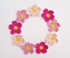 Crochet Flower Appliqués 9 Pinks by Corcra on Etsy, Old Rose, 3rd Baby, Flower Applique, Cotton Crochet, Project Yourself, Crochet Flowers, Different Colors, Embellishments, Ireland