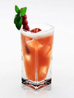 Strawberry Spangled Banner (3 strawberries  2 basil leaves  1½ oz. Disaronno  ½ oz. Grey Goose Vodka  ¾ oz. lime juice  ¾ oz. simple syrup  Garnish: strawberries and basil leaves)