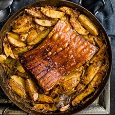Pork belly and potatoes baked in milk, bay and smoked paprika
