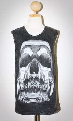 Crystal Skull Bleache Black Sleeveless Indie Punk Rock T-Shirt Size M