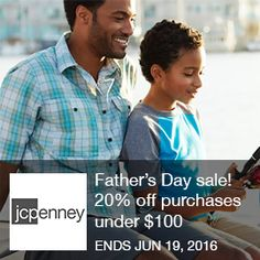 JCPenny – Father's day sale! 20% off purchases under $100 Father's Day sale! Online only: Take an extra 20% off purchases under $100 and 25% off purchases of $100 ormore. Save on select original, regular and sale-priced items. Valid 6/12-6/19.  Brought to you by http://www.imin.com and    http://www.imin.com/store-coupons/jcpenney/