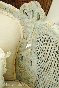 Love the details on this painted settee