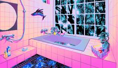 this is a pixel art image of a tiled bathroom