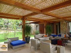 Cobertura treliça de Bambu - COBRIRE Construções em Madeira