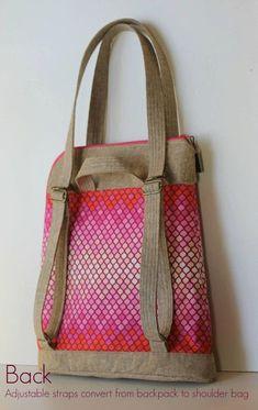Calla Convertible Backpack PDF Sewing Pattern by BlueCallaPattern .- Calla-Cabrio-Rucksack PDF-Schnittmuster von BlueCallaPatterns Calla Convertible Backpack PDF Sewing Pattern by BlueCallaPatterns - Mochila Tutorial, Sac Week End, Convertible Backpack, Fabric Bags, Lining Fabric, Pdf Sewing Patterns, Handmade Bags, Backpack Bags, Bag Making