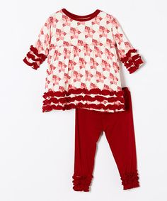 Love this Natural Poinsettia Babydoll Top & Pants - Infant, Toddler & Kids on #zulily! #zulilyfinds