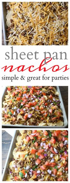 Delicious ooey gooey Sheet Pan Nachos are perfectly simple enough to make for a crowd or party! You will love this one pan dinner or appetizer!