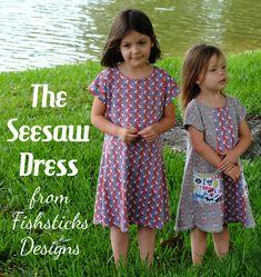 The Seesaw Dress | Girls Knit Dolman Sleeve Dress in Sizes 12 Months to 7/8 | Fishsticks Designs Blog