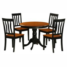 East West Furniture Antique 5 Piece Pedestal Round Dining Table Set with Wooden Seat | from hayneedle.com