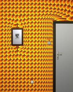 Surrealistische Tapeten - gelbe und rote Farben