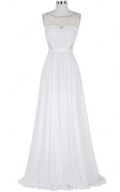 A Line Scoop Neck White Chiffon Tulle Beading Long Prom Dress