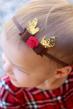 Mini Reindeer Headband  antler headband  by LittlePeanutBaby