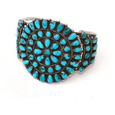 1940s  Zuni Three Cluster Turquoise Bracelet