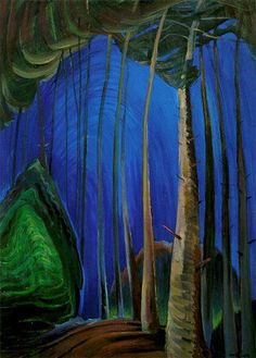Emily Carr - Blue Sky. in this painting represents a very blueish sky and very cool green, and the style of nature is there with the tall trees and the background with more trees.