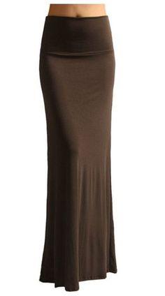 Solid Banded Waist Foldover Maxi Skirt (Brown) – Niobe Clothing
