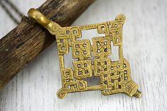 "Handmade Uniqe Religius Charm Ethnic Cross Necklace 18"" Brass Antiqued chain"