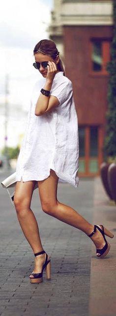 WHITE SHIRTDRESS + PLATFORM SANDALS -  Le Fashion