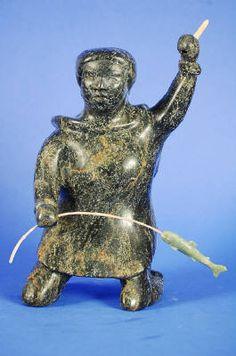Artist: Osuitok Ipeelee, Title: Woman Fishing, ca. Inuit Art, Wood Carvings, Arctic, Portal, Nativity, Sculptures, Fishing, Ivory, Canada