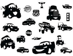KLDezign SVG Cars I want these made in bright colors placed on canvas framed for grandkids bedroom. Need to mix disney pins, frozen & cars in 1 room. Silhouette Cutter, Silhouette Machine, Silhouette Files, Silhouette Images, Silhouette Portrait, Silhouette Design, Silhouette Cameo Projects, Vinyl Designs, Svg Cuts