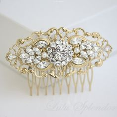 Gold Bridal Comb Art Deco Wedding Hair Accessories Vintage Filigree Comb Pearl Rhinestone Hair Piece. BELLA 2.