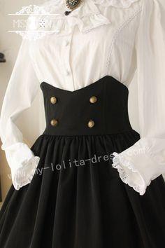 Miss Point Collge School Style Gothic Vintage High Waist Lolita Skirt