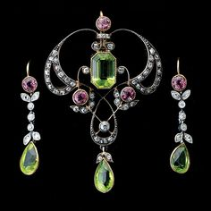 ART NOUVEAU PERIDOT, TOURMALINE, DIAMOND, STERLING SILVER, GOLD JEWELRY SUITE,