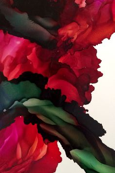 Climbing Rose Piñata Inks on Yupo