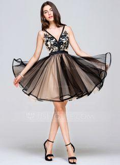 [R$ 494,46] Vestidos princesa/ Formato A Decote V Curto/Mini Tule Vestido de boas vindas com Renda