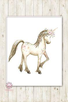Boho Blush Unicorn Wall Art Print Baby Girl Nursery Ethereal Fantasy Watercolor Room Printable Decor