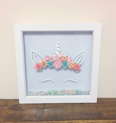 Unicorn frame 3D paper flower unicorn frames Available now to order Great kids room decor